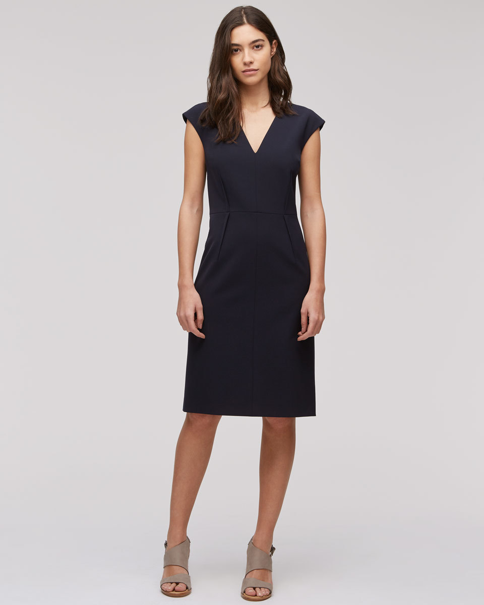 Paris Cap Sleeve Dress - style: shift; neckline: low v-neck; sleeve style: capped; fit: tailored/fitted; pattern: plain; predominant colour: navy; occasions: work; length: just above the knee; fibres: polyester/polyamide - 100%; sleeve length: short sleeve; texture group: crepes; pattern type: fabric; season: s/s 2016; wardrobe: investment
