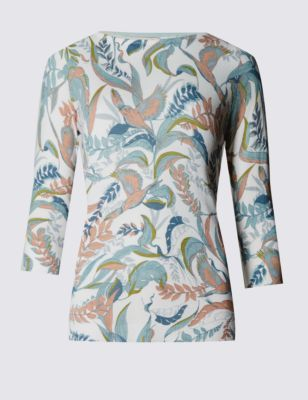 3/4 Sleeve Bird & Leaf Print Jumper - style: standard; predominant colour: ivory/cream; secondary colour: pistachio; occasions: casual, creative work; length: standard; fit: slim fit; neckline: crew; sleeve length: 3/4 length; sleeve style: standard; texture group: knits/crochet; pattern type: knitted - fine stitch; pattern size: light/subtle; pattern: patterned/print; fibres: viscose/rayon - mix; season: s/s 2016; wardrobe: highlight
