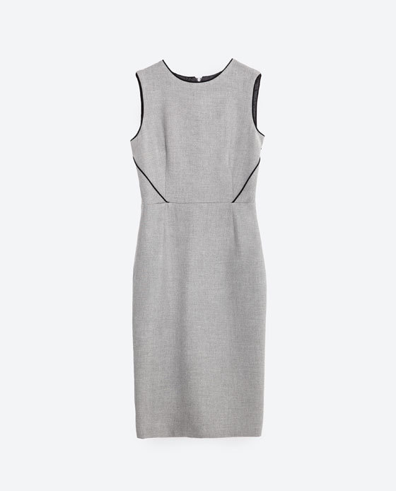 Tube Dress With Piping - style: shift; fit: tailored/fitted; pattern: plain; sleeve style: sleeveless; predominant colour: light grey; secondary colour: black; occasions: work, creative work; length: just above the knee; fibres: polyester/polyamide - stretch; neckline: crew; sleeve length: sleeveless; pattern type: fabric; texture group: woven light midweight; season: s/s 2016; wardrobe: investment