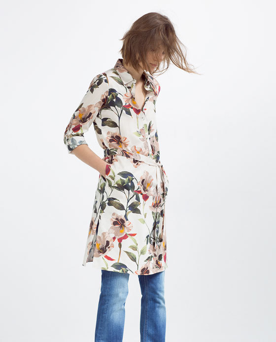 Printed Tunic With Slits - style: shirt; length: mid thigh; neckline: shirt collar/peter pan/zip with opening; waist detail: belted waist/tie at waist/drawstring; predominant colour: ivory/cream; secondary colour: dark green; occasions: casual, creative work; fit: straight cut; fibres: polyester/polyamide - 100%; sleeve length: 3/4 length; sleeve style: standard; pattern type: fabric; pattern: florals; texture group: woven light midweight; multicoloured: multicoloured; season: s/s 2016; wardrobe: highlight