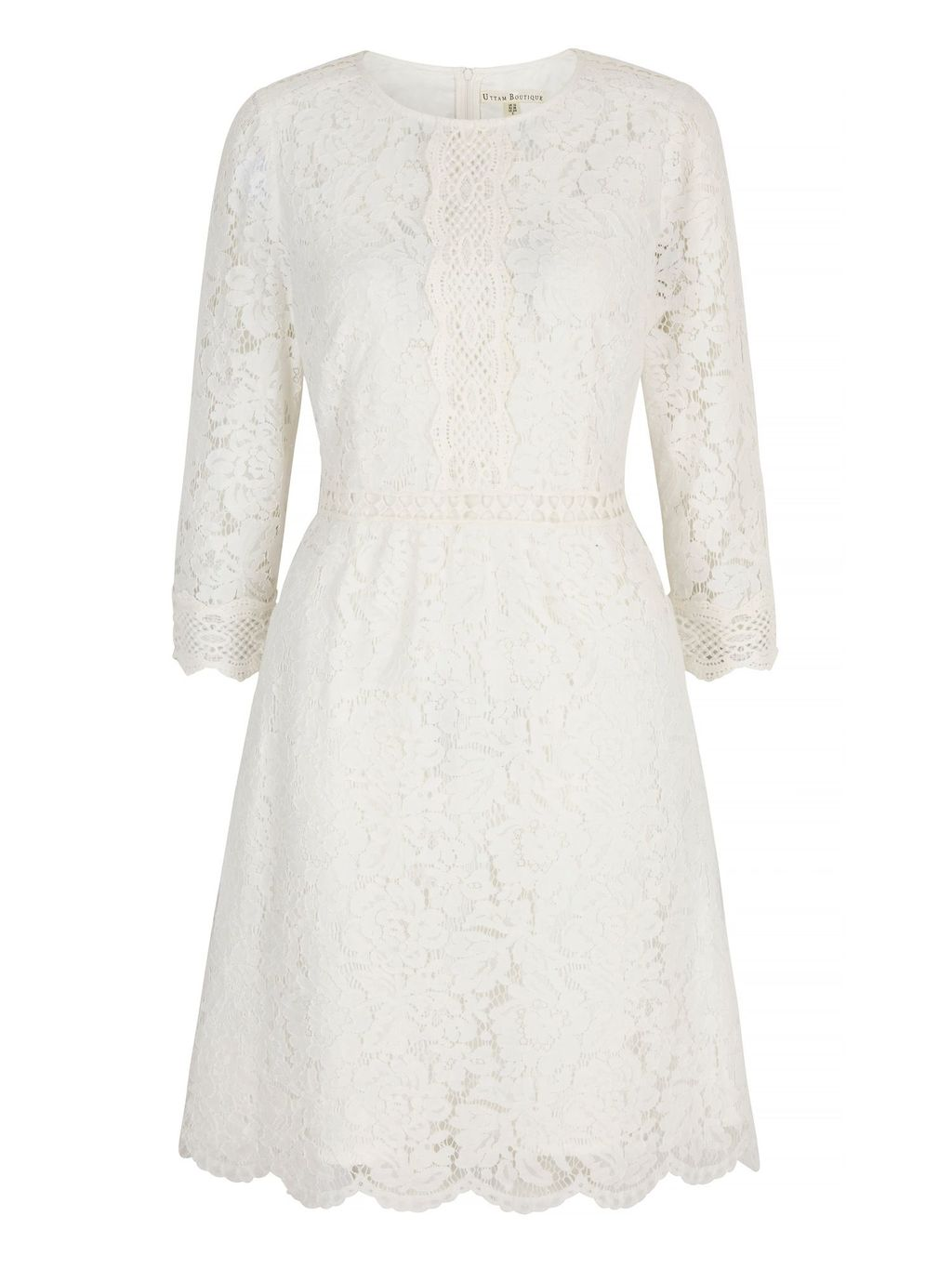 Mixed Lace Dress, Cream - neckline: round neck; predominant colour: ivory/cream; occasions: evening, occasion; length: on the knee; fit: fitted at waist & bust; style: fit & flare; fibres: polyester/polyamide - mix; sleeve length: long sleeve; sleeve style: standard; texture group: lace; pattern type: fabric; pattern size: standard; pattern: patterned/print; season: s/s 2016; wardrobe: event