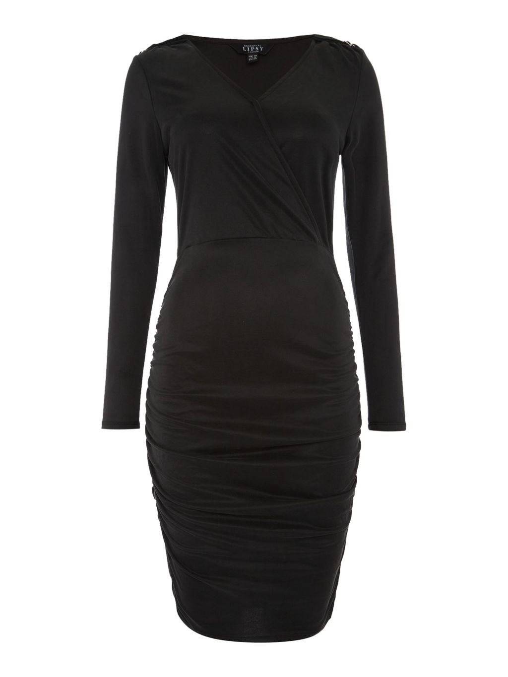 Long Sleeve V Wrap Dress, Black - length: below the knee; neckline: v-neck; pattern: plain; style: bodycon; bust detail: ruching/gathering/draping/layers/pintuck pleats at bust; predominant colour: black; occasions: evening; fit: body skimming; fibres: viscose/rayon - stretch; sleeve length: long sleeve; sleeve style: standard; pattern type: fabric; texture group: jersey - stretchy/drapey; season: s/s 2016; wardrobe: event