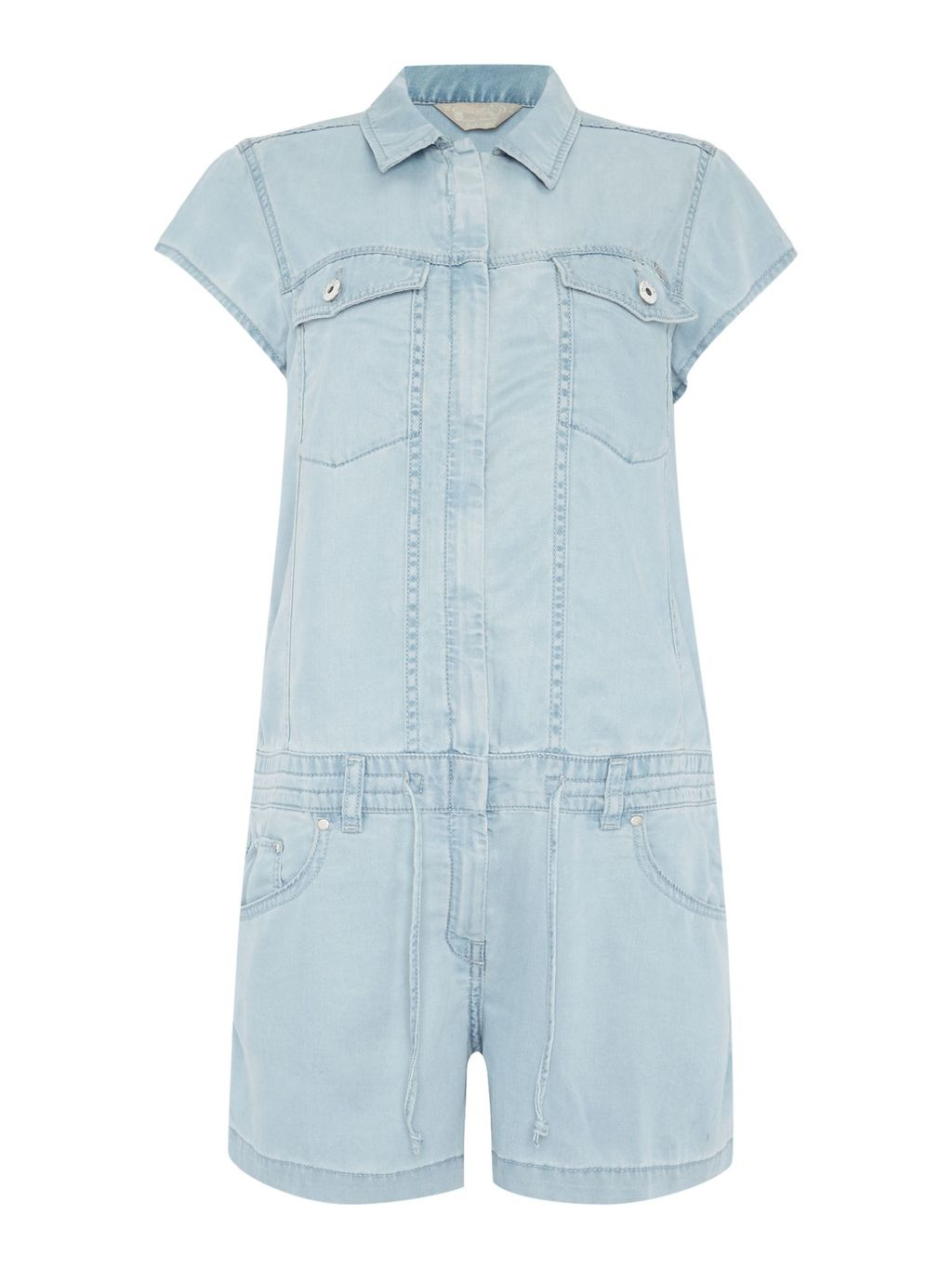 De Sade Playsuit, Blue - neckline: shirt collar/peter pan/zip with opening; pattern: plain; length: short shorts; predominant colour: pale blue; occasions: casual; fit: body skimming; sleeve length: short sleeve; sleeve style: standard; texture group: denim; style: playsuit; pattern type: fabric; fibres: viscose/rayon - mix; season: s/s 2016; wardrobe: highlight
