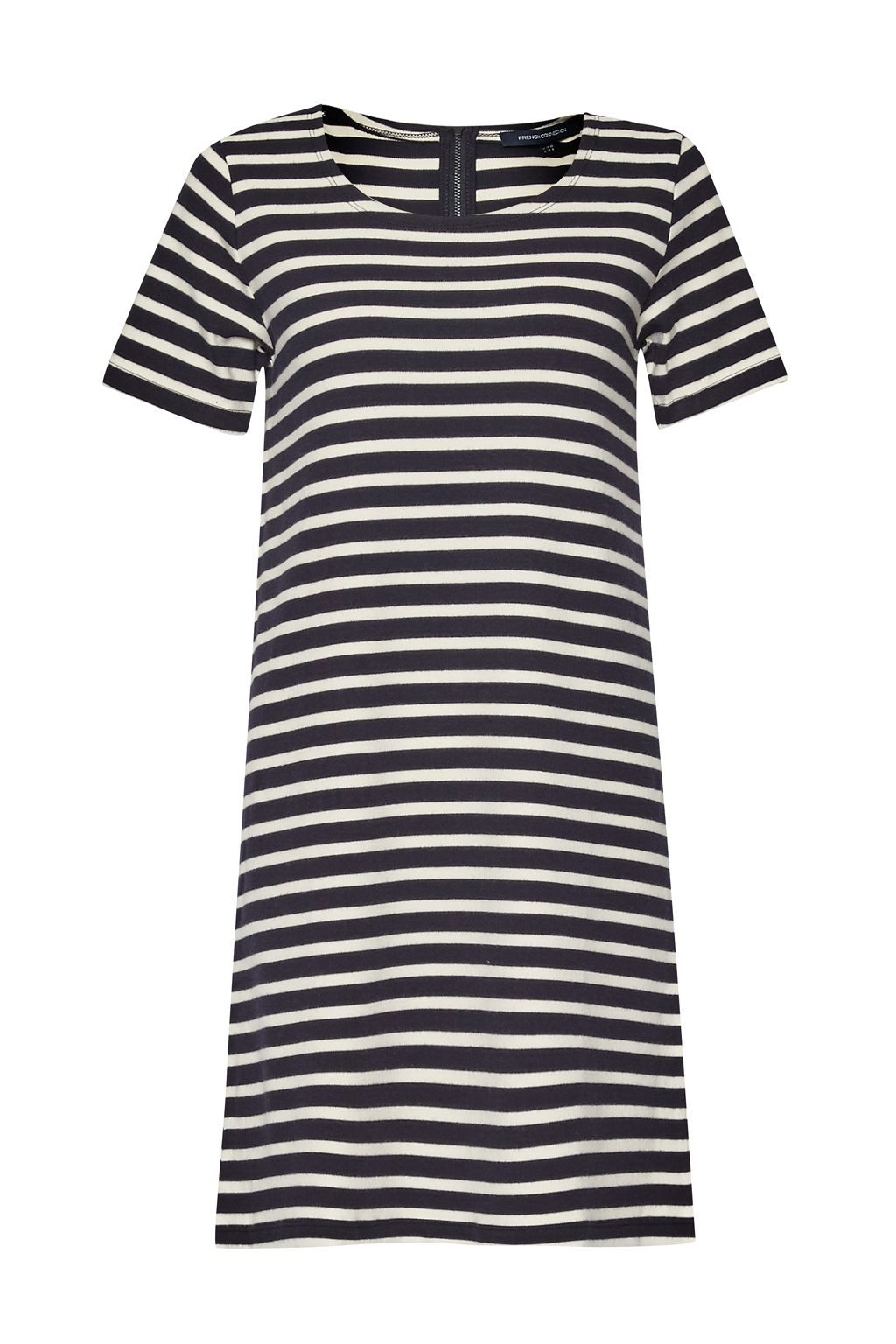 Annie Striped T Shirt Dress, Blue - style: a-line; length: mid thigh; neckline: round neck; pattern: horizontal stripes; secondary colour: white; predominant colour: black; occasions: casual; fit: body skimming; fibres: cotton - 100%; sleeve length: short sleeve; sleeve style: standard; trends: monochrome; pattern type: fabric; texture group: jersey - stretchy/drapey; season: s/s 2016; wardrobe: basic