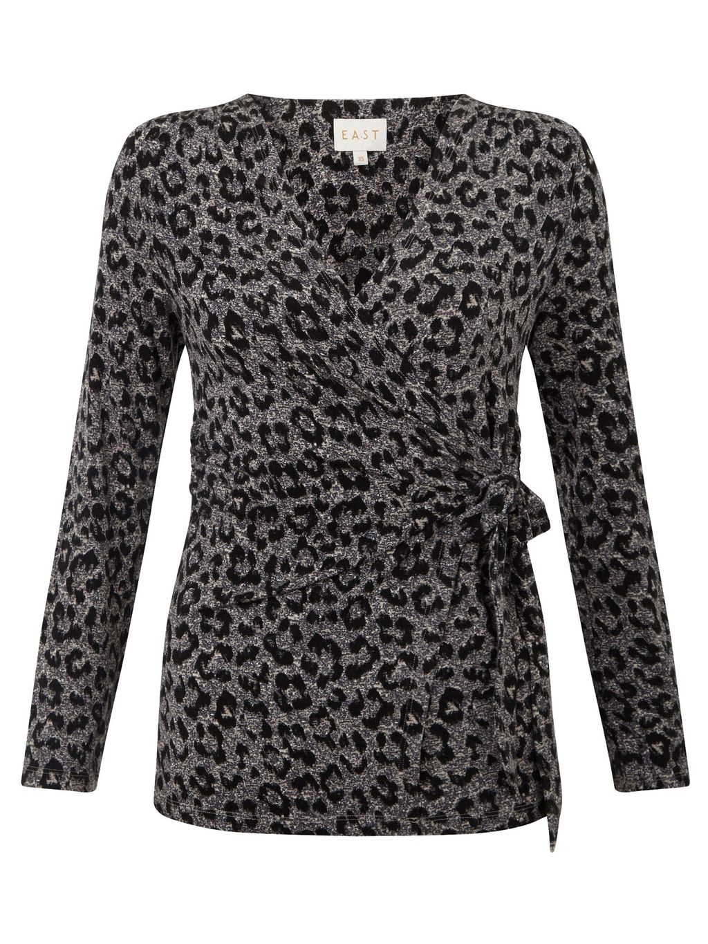 Leopard Print Wrap Top, Neutral - neckline: v-neck; style: wrap/faux wrap; waist detail: belted waist/tie at waist/drawstring; predominant colour: silver; secondary colour: charcoal; occasions: evening; length: standard; fibres: viscose/rayon - stretch; fit: body skimming; sleeve length: long sleeve; sleeve style: standard; pattern type: fabric; pattern: animal print; texture group: jersey - stretchy/drapey; multicoloured: multicoloured; season: s/s 2016