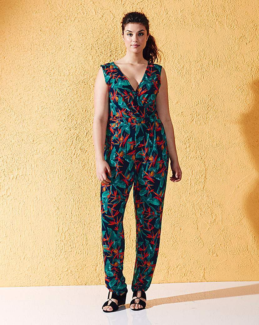 Black/Green Print Wrap Front Jumpsuit - length: standard; neckline: v-neck; fit: fitted at waist; sleeve style: sleeveless; secondary colour: bright orange; predominant colour: black; occasions: casual; fibres: viscose/rayon - stretch; sleeve length: sleeveless; style: jumpsuit; pattern type: fabric; pattern size: big & busy; pattern: patterned/print; texture group: other - light to midweight; multicoloured: multicoloured; season: s/s 2016