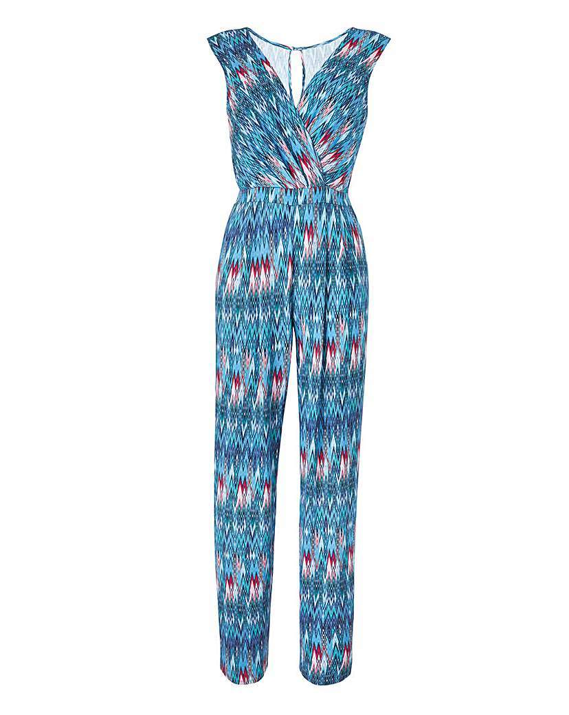 Blue Print Wrap Front Jumpsuit - length: standard; neckline: v-neck; sleeve style: capped; fit: fitted at waist; predominant colour: turquoise; occasions: casual; fibres: viscose/rayon - stretch; sleeve length: short sleeve; style: jumpsuit; pattern type: fabric; pattern size: big & busy; pattern: patterned/print; texture group: other - light to midweight; multicoloured: multicoloured; season: s/s 2016; wardrobe: highlight