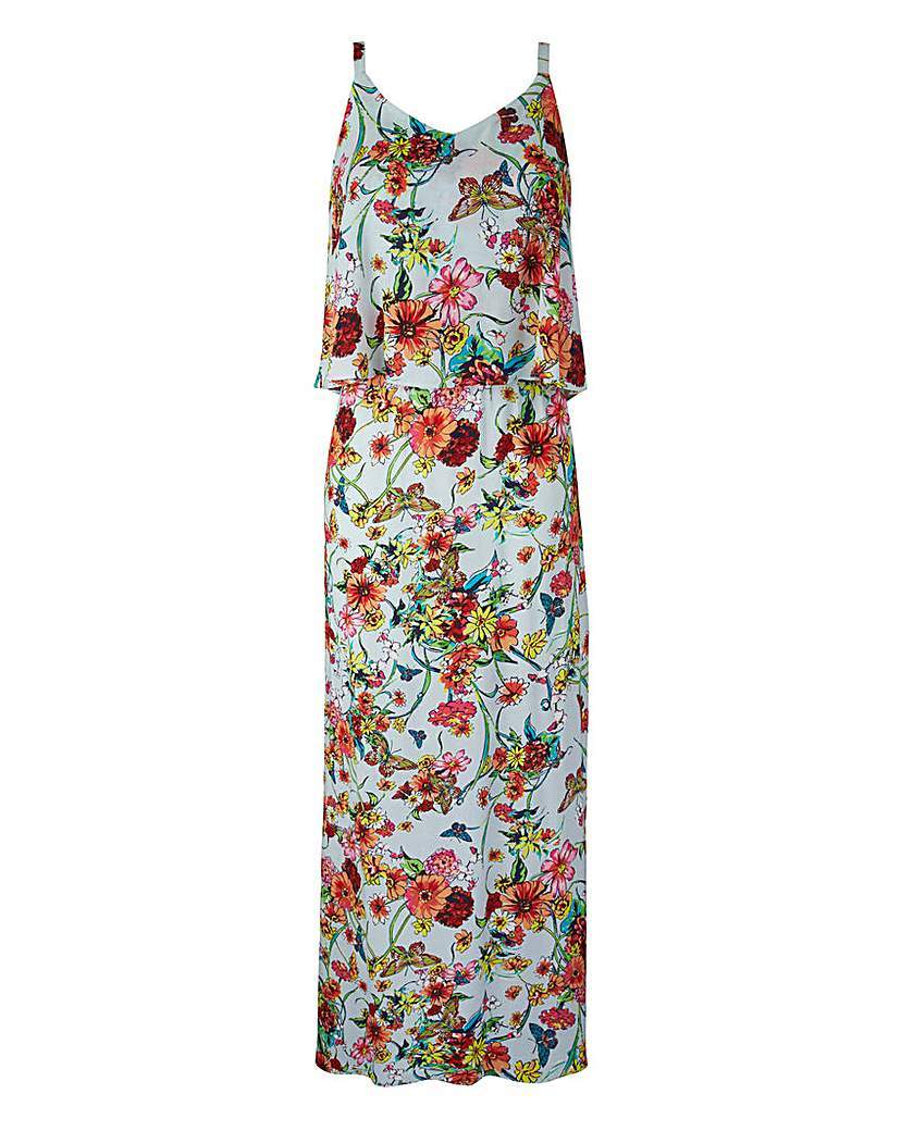 Layer Top Print Maxi Dress - neckline: low v-neck; sleeve style: sleeveless; style: maxi dress; length: ankle length; predominant colour: pale blue; secondary colour: pale blue; occasions: casual; fit: body skimming; fibres: viscose/rayon - 100%; sleeve length: sleeveless; pattern type: fabric; pattern: florals; texture group: other - light to midweight; multicoloured: multicoloured; season: s/s 2016; wardrobe: highlight