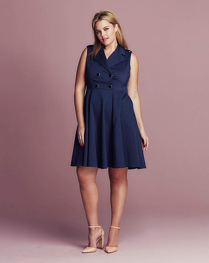 Closet Button Wrap Dress - neckline: shirt collar/peter pan/zip with opening; pattern: plain; sleeve style: sleeveless; predominant colour: navy; occasions: casual; length: just above the knee; fit: fitted at waist & bust; style: fit & flare; fibres: cotton - stretch; sleeve length: sleeveless; pattern type: fabric; texture group: woven light midweight; season: s/s 2016; wardrobe: basic; embellishment location: bust