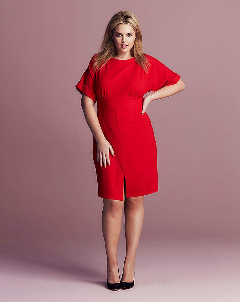 Closet Split Front Dress - style: shift; sleeve style: dolman/batwing; fit: fitted at waist; pattern: plain; back detail: tie at back; predominant colour: true red; length: on the knee; fibres: polyester/polyamide - stretch; occasions: occasion; neckline: crew; sleeve length: half sleeve; texture group: crepes; pattern type: fabric; season: s/s 2016; wardrobe: event