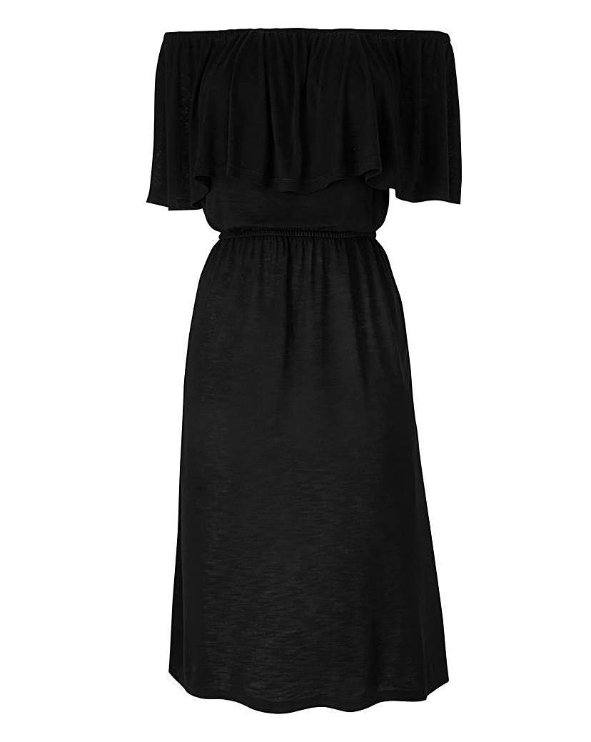 Bardot Jersey Dress - length: below the knee; neckline: off the shoulder; sleeve style: angel/waterfall; fit: fitted at waist; pattern: plain; waist detail: elasticated waist; predominant colour: black; occasions: casual; style: fit & flare; fibres: polyester/polyamide - stretch; sleeve length: short sleeve; pattern type: fabric; texture group: jersey - stretchy/drapey; season: s/s 2016; wardrobe: highlight