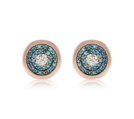 Rose Gold Vermeil Evil Eye Stud Earrings Blue Diamond - secondary colour: turquoise; predominant colour: gold; occasions: evening, occasion; style: stud; length: short; size: small/fine; material: chain/metal; fastening: pierced; finish: metallic; embellishment: jewels/stone; season: s/s 2016; wardrobe: event