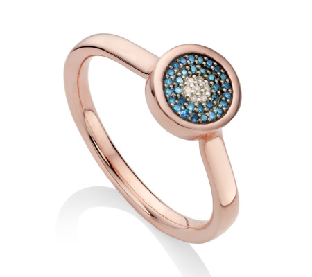 Rose Gold Vermeil Evil Eye Ring Blue Diamond - secondary colour: royal blue; predominant colour: gold; occasions: evening, occasion, creative work; style: cocktail; size: standard; material: chain/metal; finish: metallic; embellishment: jewels/stone; season: s/s 2016; wardrobe: highlight