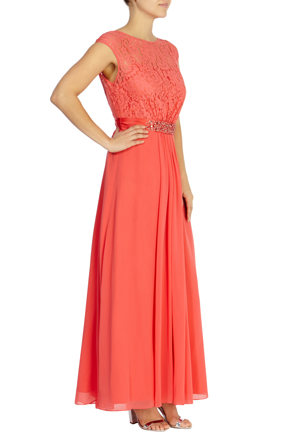 Lori Lee Lace Maxi Dress - sleeve style: capped; pattern: plain; style: maxi dress; predominant colour: coral; occasions: evening; length: floor length; fit: body skimming; fibres: polyester/polyamide - 100%; neckline: crew; sleeve length: short sleeve; texture group: sheer fabrics/chiffon/organza etc.; pattern type: fabric; embellishment: lace; season: s/s 2016; wardrobe: event; embellishment location: waist