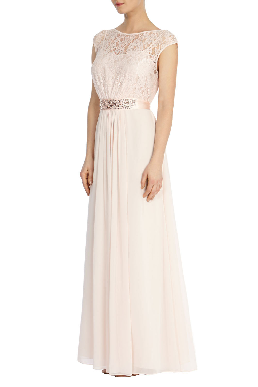 Lori Lee Lace Maxi Dress Sl - neckline: slash/boat neckline; sleeve style: capped; pattern: plain; style: maxi dress; predominant colour: blush; length: floor length; fit: fitted at waist & bust; fibres: polyester/polyamide - 100%; occasions: occasion; waist detail: feature waist detail; back detail: keyhole/peephole detail at back; sleeve length: sleeveless; texture group: sheer fabrics/chiffon/organza etc.; pattern type: fabric; embellishment: lace; shoulder detail: sheer at shoulder; season: s/s 2016; wardrobe: event; embellishment location: top