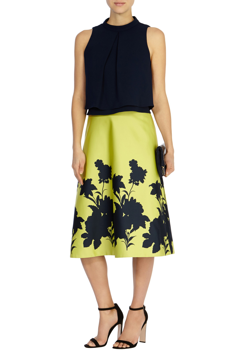 Edie Boarder Skirt - length: below the knee; style: full/prom skirt; fit: loose/voluminous; waist: mid/regular rise; secondary colour: lime; predominant colour: black; fibres: polyester/polyamide - 100%; occasions: occasion; hip detail: soft pleats at hip/draping at hip/flared at hip; pattern type: fabric; pattern: florals; texture group: woven light midweight; pattern size: big & busy (bottom); season: s/s 2016