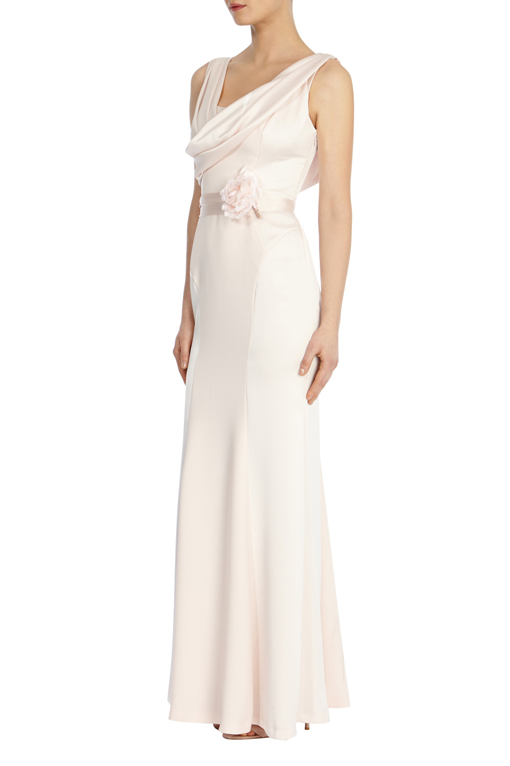 Mia Rae Maxi Dress - neckline: low v-neck; pattern: plain; sleeve style: sleeveless; style: maxi dress; waist detail: belted waist/tie at waist/drawstring; predominant colour: ivory/cream; occasions: evening; length: floor length; fit: body skimming; fibres: polyester/polyamide - 100%; sleeve length: sleeveless; pattern type: fabric; texture group: jersey - stretchy/drapey; season: s/s 2016; wardrobe: event