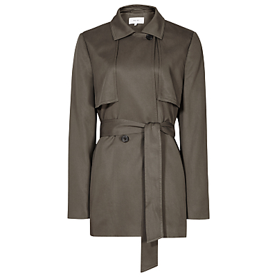 Relaxed Belted Mac Jacket, Pine - pattern: plain; length: below the bottom; bust detail: added detail/embellishment at bust; style: trench coat; predominant colour: khaki; fit: tailored/fitted; fibres: viscose/rayon - 100%; collar: shirt collar/peter pan/zip with opening; waist detail: belted waist/tie at waist/drawstring; sleeve length: long sleeve; sleeve style: standard; texture group: cotton feel fabrics; collar break: high/illusion of break when open; pattern type: fabric; occasions: creative work; season: s/s 2016