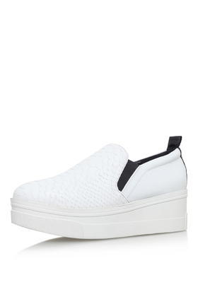 Lizard Sneaker By Kg Kurt Geiger - predominant colour: white; secondary colour: black; occasions: casual, creative work; material: fabric; heel height: flat; toe: round toe; finish: plain; pattern: plain; shoe detail: platform; style: skate shoes; season: s/s 2016; wardrobe: highlight