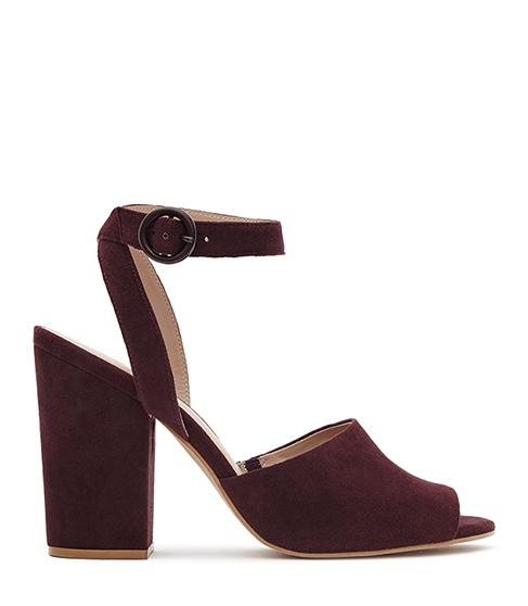 Lana Suede Block Heel Sandals - predominant colour: burgundy; occasions: casual, creative work; material: suede; heel height: high; ankle detail: ankle strap; heel: block; toe: open toe/peeptoe; style: strappy; finish: plain; pattern: plain; season: s/s 2016; wardrobe: highlight