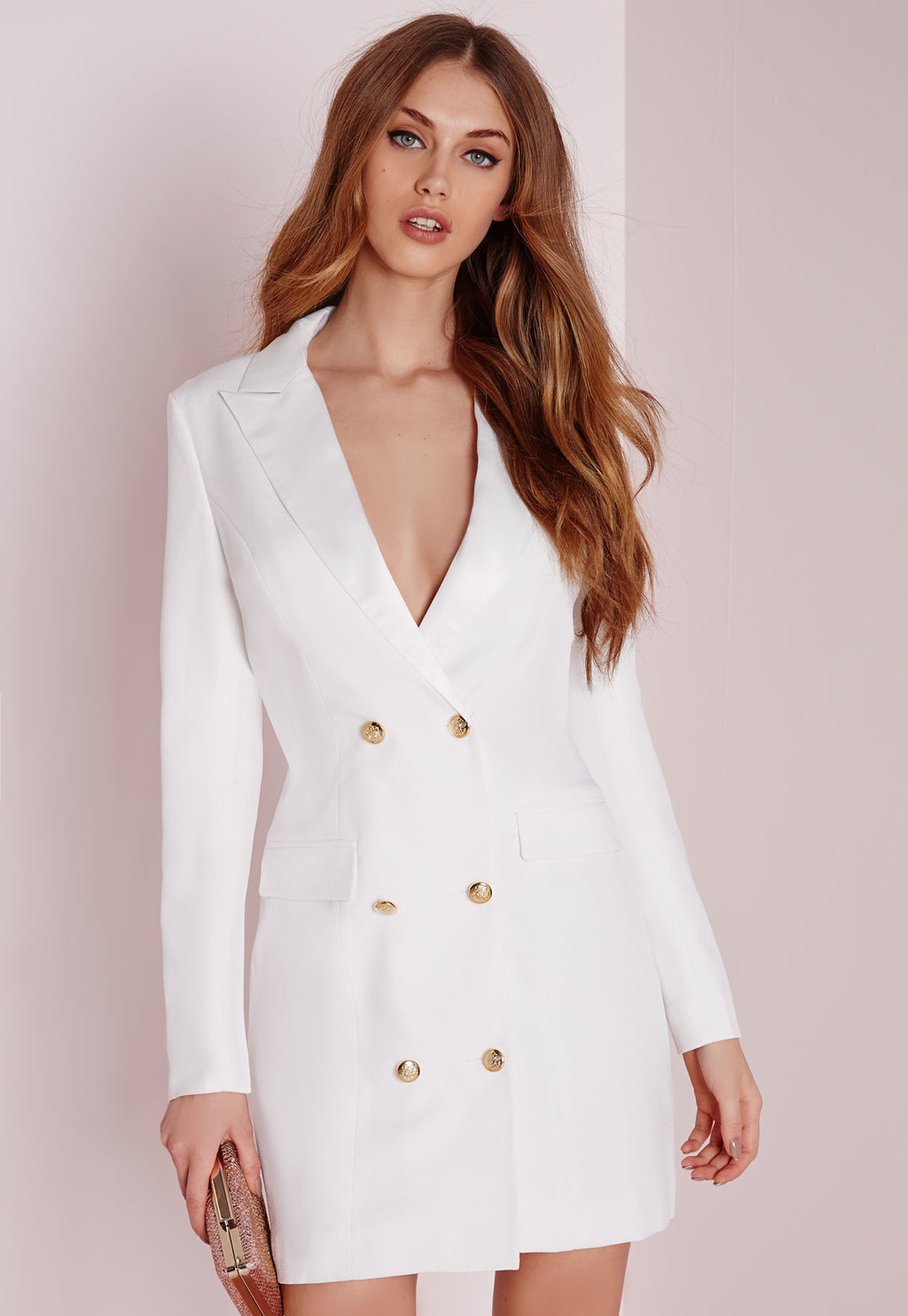 Petite Long Sleeve Tuxedo Dress White, White - style: shift; length: mini; neckline: low v-neck; fit: tailored/fitted; pattern: plain; predominant colour: white; occasions: evening; fibres: polyester/polyamide - 100%; sleeve length: long sleeve; sleeve style: standard; pattern type: fabric; texture group: other - light to midweight; season: s/s 2016; wardrobe: event