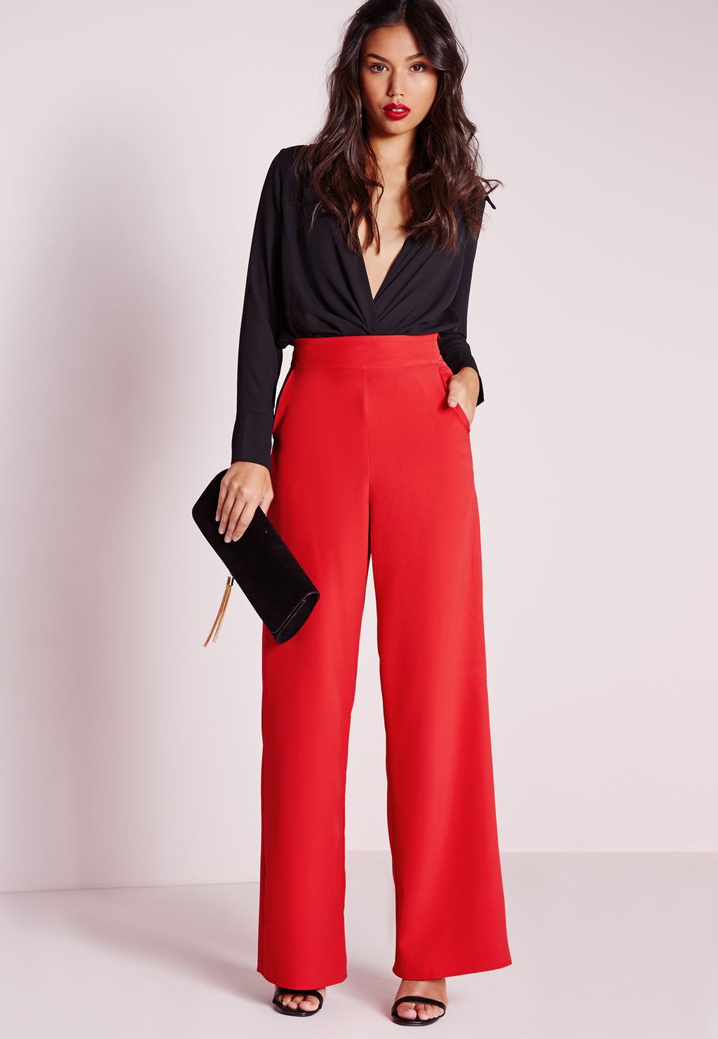 High Waist Wide Leg Trousers Red, Red - length: standard; pattern: plain; waist: high rise; predominant colour: true red; fibres: polyester/polyamide - 100%; occasions: occasion; fit: wide leg; pattern type: fabric; texture group: other - light to midweight; style: standard; season: s/s 2016