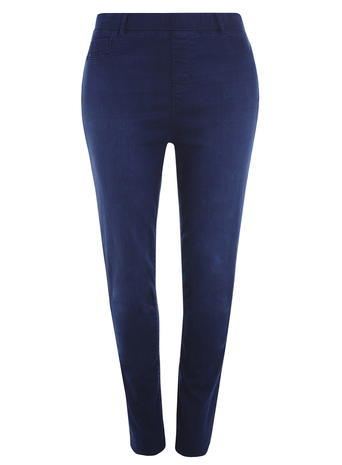 Womens **Dp Curve Bright Blue Jeggings Blue - length: standard; pattern: plain; waist: high rise; style: jeggings; predominant colour: navy; occasions: casual, creative work; fibres: cotton - stretch; jeans detail: dark wash; texture group: denim; pattern type: fabric; season: s/s 2016; wardrobe: basic