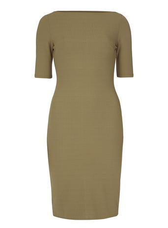 Womens Khaki Ribbed Bodycon Dress Unspecified - neckline: slash/boat neckline; fit: tight; pattern: plain; style: bodycon; predominant colour: khaki; occasions: evening; length: just above the knee; fibres: polyester/polyamide - stretch; sleeve length: short sleeve; sleeve style: standard; texture group: jersey - clingy; pattern type: fabric; season: s/s 2016; wardrobe: event