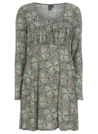 Womens **Izabel London Blue Belted Dress Blue - neckline: round neck; predominant colour: emerald green; secondary colour: mid grey; occasions: casual; length: just above the knee; fit: fitted at waist & bust; style: fit & flare; fibres: polyester/polyamide - stretch; sleeve length: long sleeve; sleeve style: standard; pattern type: fabric; pattern size: standard; pattern: patterned/print; texture group: other - light to midweight; season: s/s 2016; wardrobe: highlight