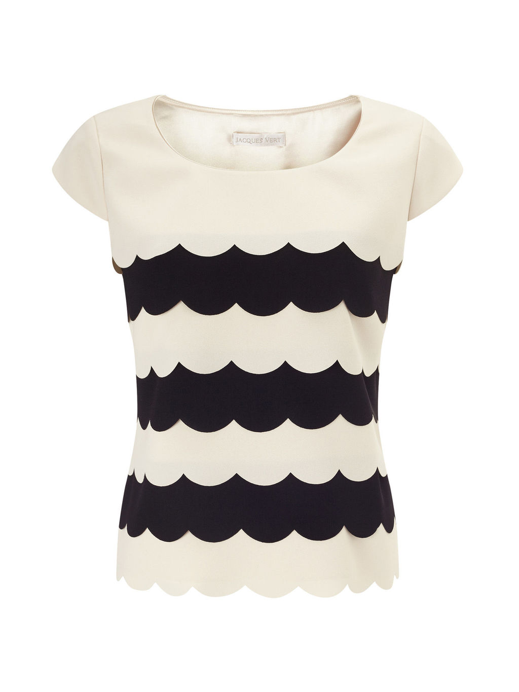 Scallop Layer Top, Cream/Black - neckline: round neck; predominant colour: ivory/cream; secondary colour: black; occasions: casual; length: standard; style: top; fibres: polyester/polyamide - 100%; fit: body skimming; sleeve length: short sleeve; sleeve style: standard; pattern type: fabric; pattern: patterned/print; texture group: woven light midweight; multicoloured: multicoloured; season: s/s 2016; wardrobe: highlight