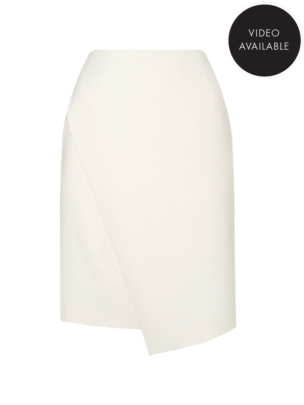 Jeff Banks Ivory Wrap Skirt - pattern: plain; style: wrap/faux wrap; fit: tailored/fitted; waist: high rise; predominant colour: ivory/cream; occasions: evening; length: just above the knee; fibres: polyester/polyamide - stretch; texture group: crepes; pattern type: fabric; season: s/s 2016; wardrobe: event