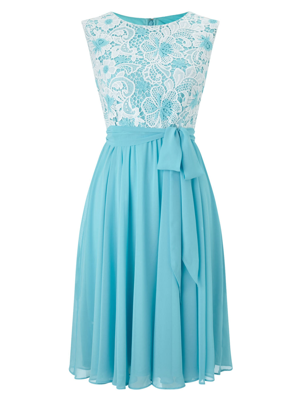 Lace Top Soft Prom Dress, Blue/Multi - sleeve style: sleeveless; style: prom dress; waist detail: belted waist/tie at waist/drawstring; secondary colour: white; predominant colour: turquoise; occasions: evening, occasion; length: just above the knee; fit: fitted at waist & bust; fibres: polyester/polyamide - 100%; neckline: crew; hip detail: subtle/flattering hip detail; sleeve length: sleeveless; texture group: sheer fabrics/chiffon/organza etc.; pattern type: fabric; pattern size: standard; pattern: patterned/print; season: s/s 2016; wardrobe: event; embellishment: contrast fabric; embellishment location: bust