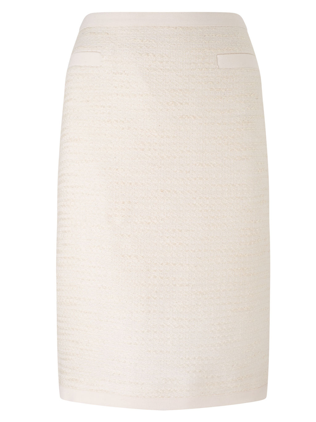 Tweed Skirt, Ivory - pattern: plain; style: pencil; fit: tailored/fitted; waist: high rise; predominant colour: ivory/cream; length: just above the knee; occasions: occasion, creative work; pattern type: fabric; texture group: woven light midweight; fibres: viscose/rayon - mix; season: s/s 2016; wardrobe: basic