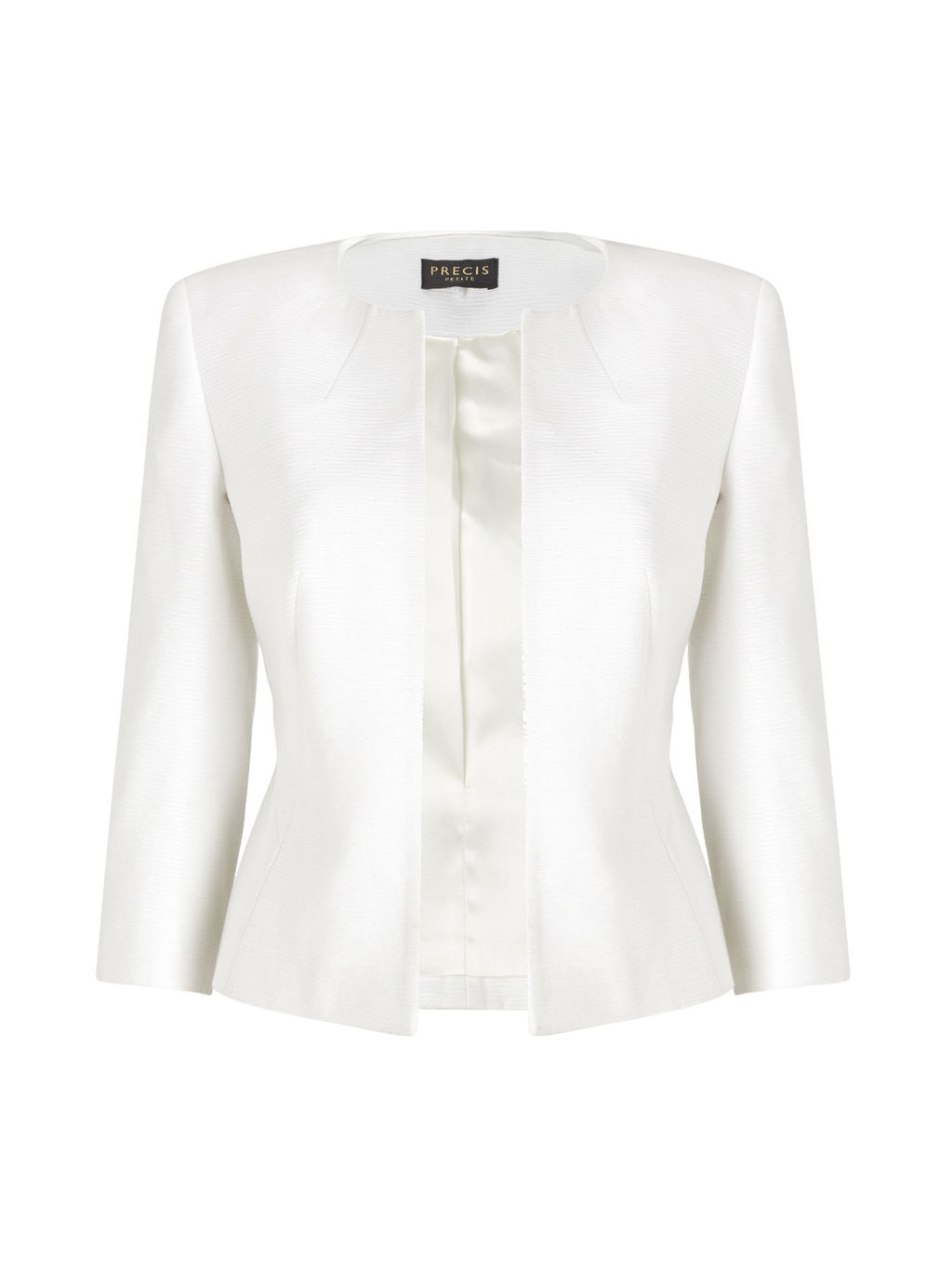 Ivory Textured Jacket - pattern: plain; style: single breasted blazer; collar: round collar/collarless; predominant colour: white; occasions: evening, occasion; length: standard; fit: tailored/fitted; fibres: polyester/polyamide - mix; sleeve length: 3/4 length; sleeve style: standard; texture group: structured shiny - satin/tafetta/silk etc.; collar break: high; pattern type: fabric; season: s/s 2016; wardrobe: event