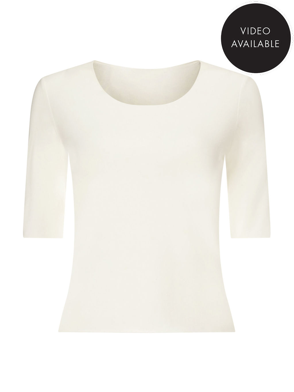 Jeff Banks Ivory Jersey Top - neckline: round neck; pattern: plain; predominant colour: white; occasions: casual; length: standard; style: top; fibres: viscose/rayon - stretch; fit: body skimming; sleeve length: half sleeve; sleeve style: standard; pattern type: fabric; texture group: jersey - stretchy/drapey; season: s/s 2016; wardrobe: basic