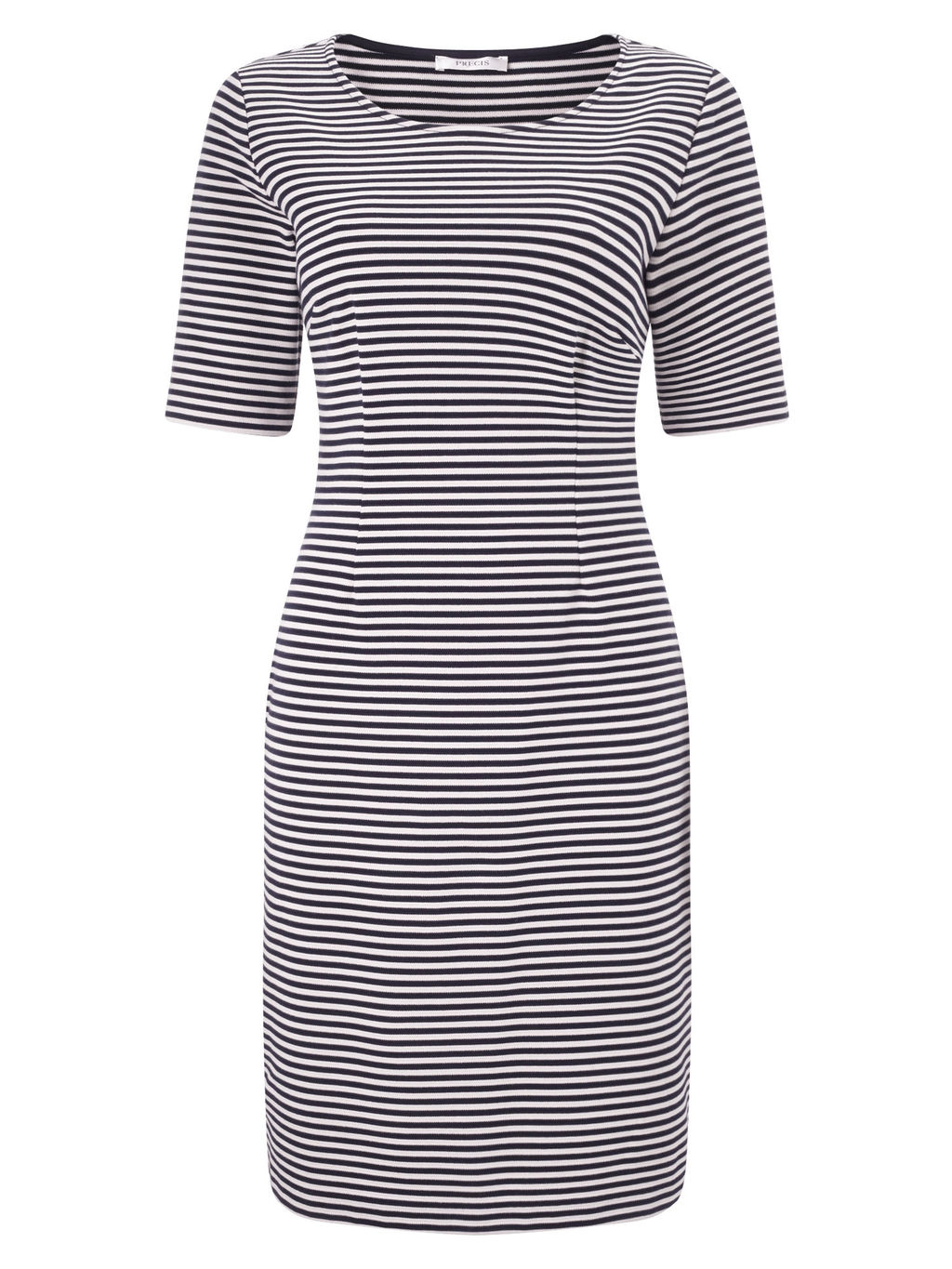 Stripe Dress, Blue/Multi - style: shift; neckline: round neck; fit: tailored/fitted; pattern: horizontal stripes; secondary colour: white; predominant colour: navy; occasions: casual, creative work; length: on the knee; fibres: polyester/polyamide - stretch; sleeve length: short sleeve; sleeve style: standard; texture group: jersey - clingy; pattern type: fabric; pattern size: standard; season: s/s 2016; wardrobe: basic