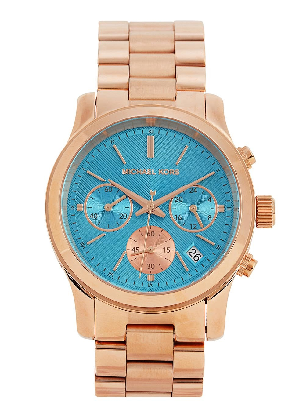 Runway Rose Gold Tone Chronograph Watch - secondary colour: turquoise; predominant colour: gold; occasions: casual, work, creative work; style: metal bracelet; size: standard; material: chain/metal; finish: metallic; pattern: plain; season: s/s 2016