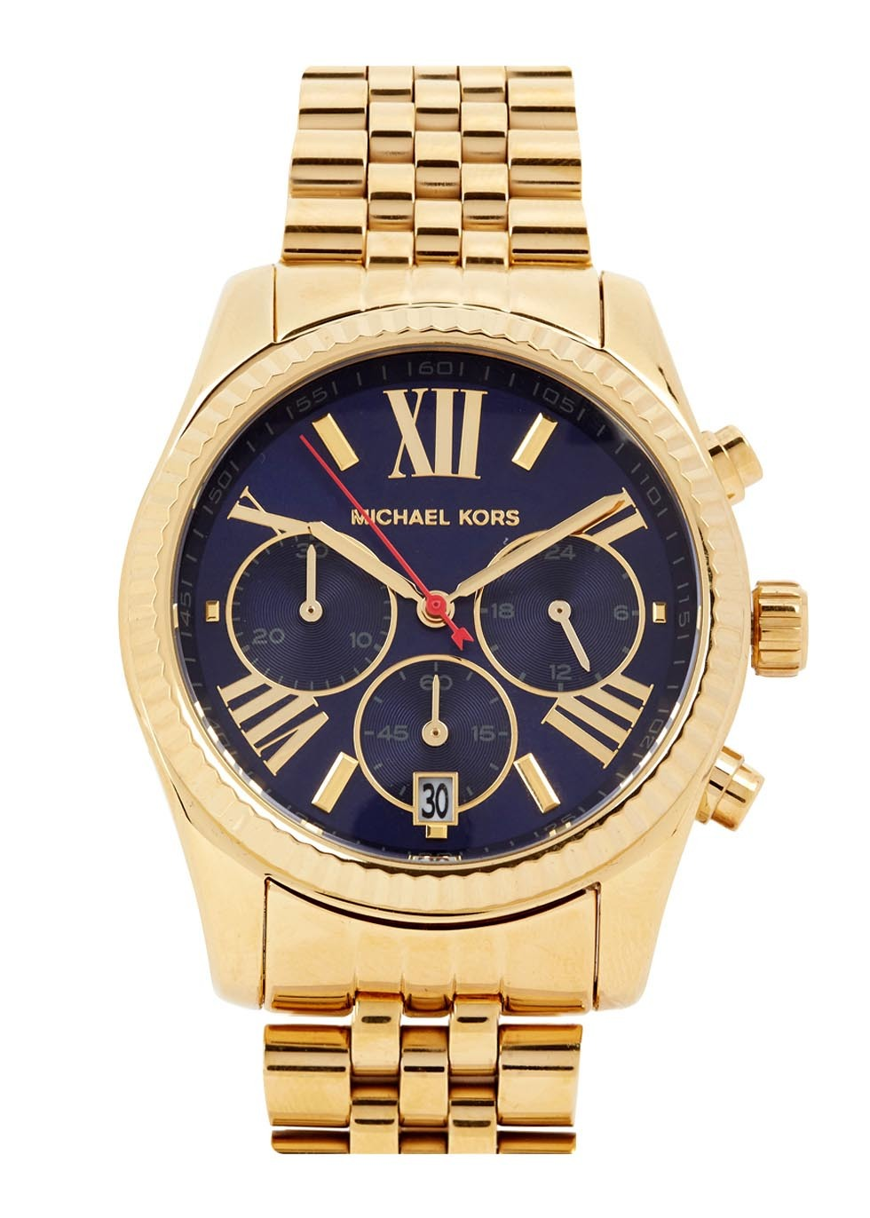 Lexington Gold Tone Chronograph Watch - secondary colour: navy; predominant colour: gold; occasions: casual, work, creative work; style: boyfriend; size: large/oversized; material: chain/metal; finish: metallic; pattern: plain; season: s/s 2016