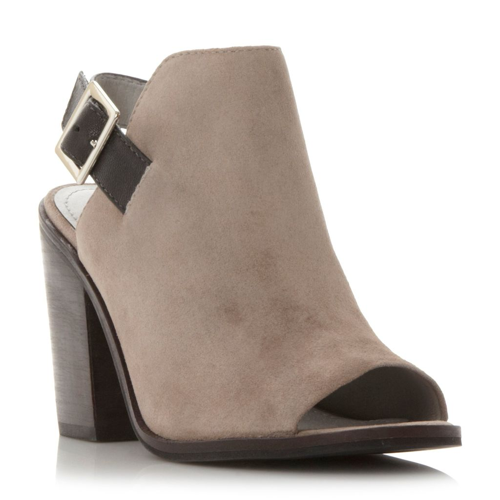 Tallen Peep Toe Shoe Boots, Grey - predominant colour: taupe; occasions: casual; material: suede; heel height: high; heel: block; toe: open toe/peeptoe; boot length: ankle boot; finish: plain; pattern: plain; style: cut outs; season: s/s 2016; wardrobe: highlight