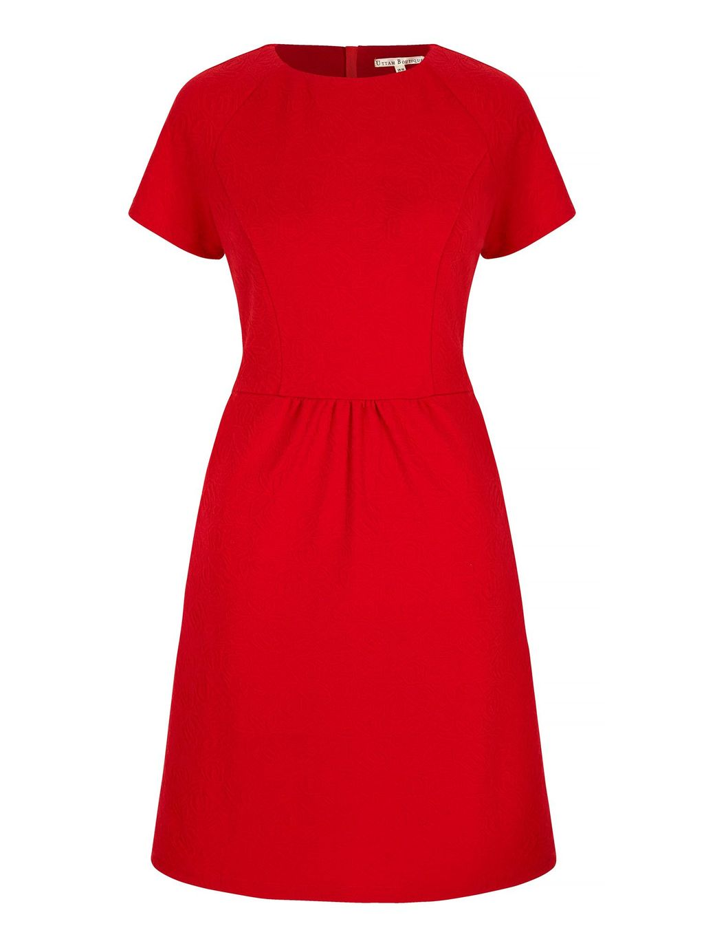 Textured Ponte Day Dress, Red - pattern: plain; predominant colour: true red; length: on the knee; fit: fitted at waist & bust; style: fit & flare; fibres: polyester/polyamide - stretch; neckline: crew; sleeve length: short sleeve; sleeve style: standard; pattern type: fabric; texture group: other - light to midweight; occasions: creative work; season: s/s 2016