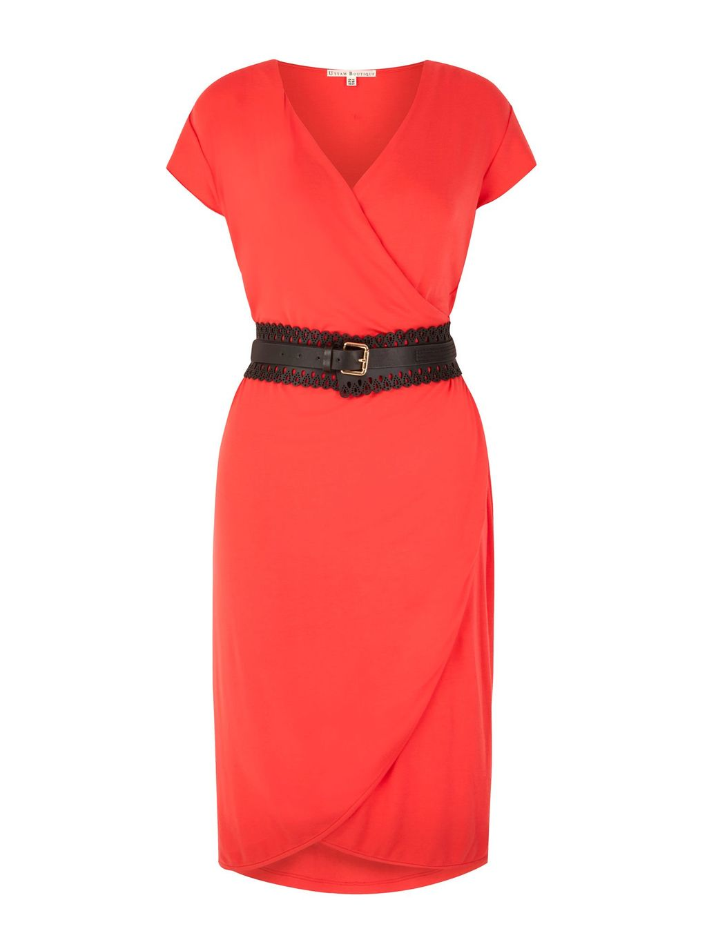 Obi Belted Wrap Dress With Belt Included, Coral - style: faux wrap/wrap; neckline: v-neck; pattern: plain; waist detail: belted waist/tie at waist/drawstring; predominant colour: coral; occasions: evening; length: on the knee; fit: body skimming; fibres: viscose/rayon - stretch; sleeve length: short sleeve; sleeve style: standard; pattern type: fabric; texture group: jersey - stretchy/drapey; season: s/s 2016; wardrobe: event