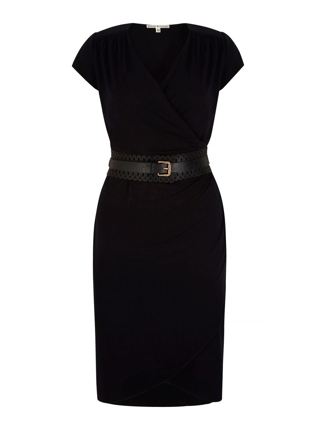 Obi Belted Wrap Dress With Belt Included, Black - style: faux wrap/wrap; neckline: v-neck; sleeve style: capped; pattern: plain; waist detail: belted waist/tie at waist/drawstring; predominant colour: black; occasions: evening; length: just above the knee; fit: body skimming; fibres: viscose/rayon - stretch; sleeve length: short sleeve; pattern type: fabric; texture group: jersey - stretchy/drapey; season: s/s 2016; wardrobe: event