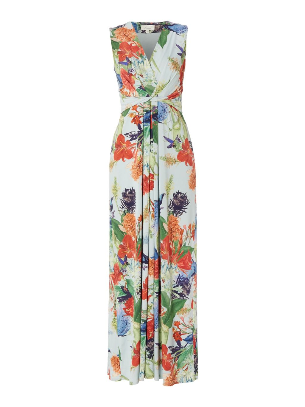 Chinoiserie Print Maxi Dress, Multi Coloured - neckline: v-neck; sleeve style: sleeveless; style: maxi dress; predominant colour: white; secondary colour: bright orange; occasions: evening; length: floor length; fit: body skimming; fibres: polyester/polyamide - stretch; sleeve length: sleeveless; pattern type: fabric; pattern: florals; texture group: jersey - stretchy/drapey; multicoloured: multicoloured; season: s/s 2016; wardrobe: event