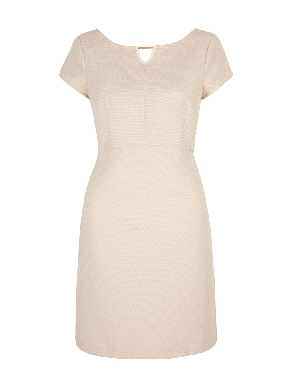 Textured Babydoll Party Dress, Beige - style: shift; fit: tailored/fitted; pattern: plain; predominant colour: stone; occasions: evening; length: just above the knee; neckline: peep hole neckline; fibres: polyester/polyamide - 100%; sleeve length: short sleeve; sleeve style: standard; pattern type: fabric; texture group: other - light to midweight; season: s/s 2016; wardrobe: event