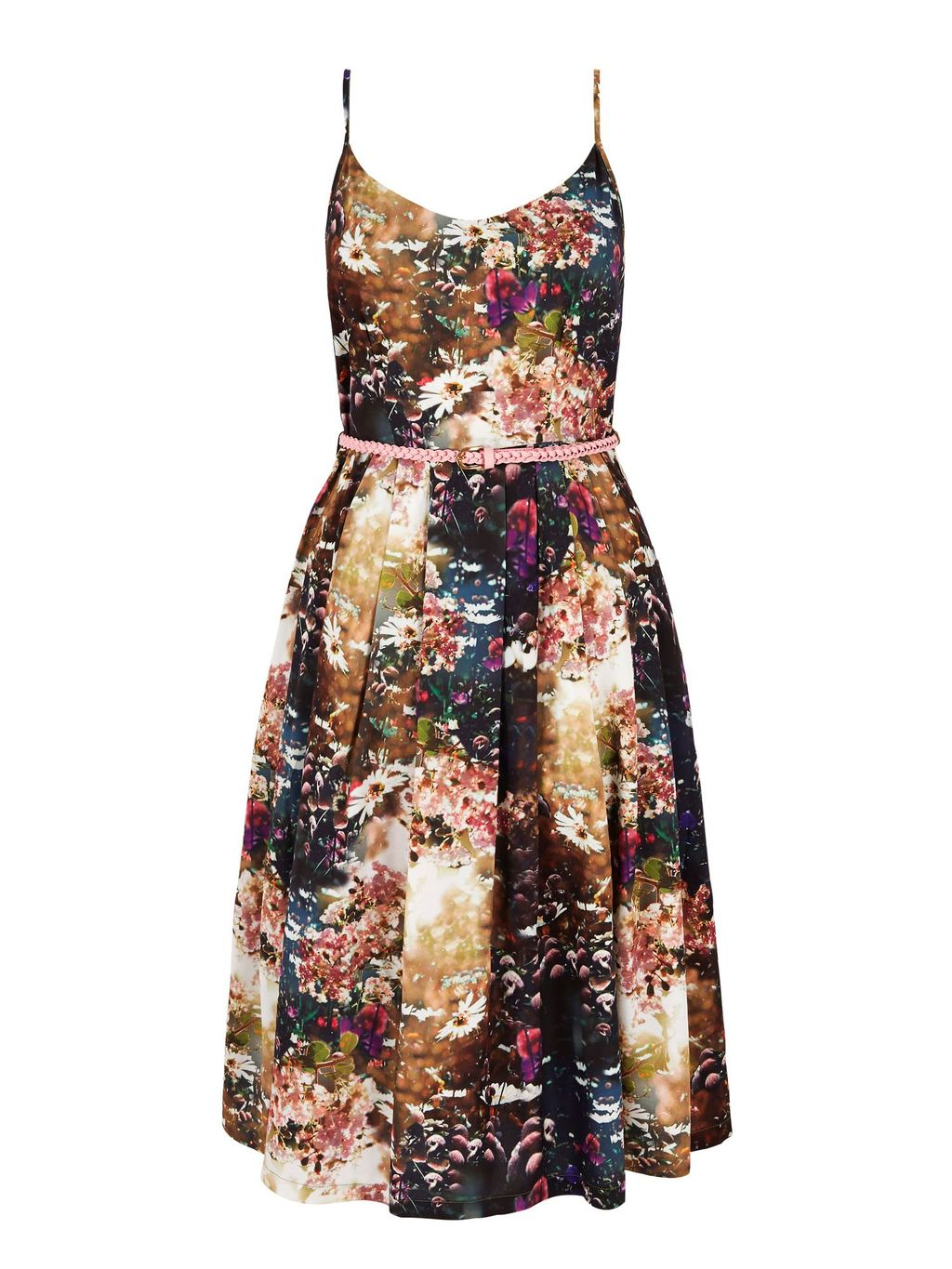 Floral Print Day Dress With Belt, Multi Coloured - neckline: v-neck; sleeve style: spaghetti straps; secondary colour: ivory/cream; predominant colour: chocolate brown; occasions: evening; length: on the knee; fit: fitted at waist & bust; style: fit & flare; fibres: polyester/polyamide - 100%; sleeve length: sleeveless; pattern type: fabric; pattern: florals; texture group: other - light to midweight; multicoloured: multicoloured; season: s/s 2016; wardrobe: event