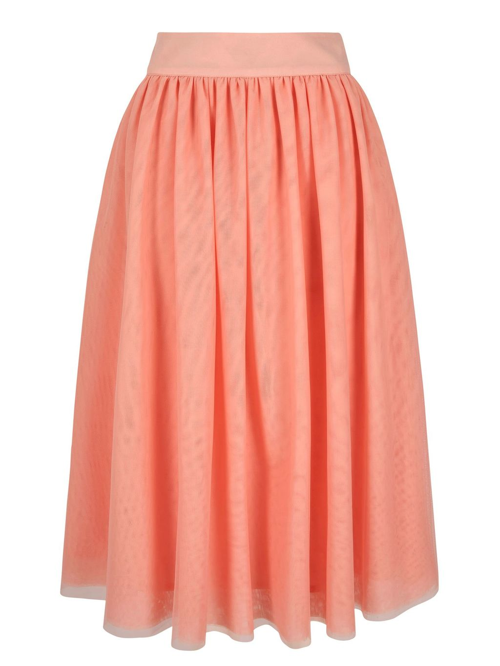 Tulle Midi Skirt, Pink - length: below the knee; pattern: plain; fit: loose/voluminous; style: pleated; waist: high rise; predominant colour: coral; fibres: polyester/polyamide - stretch; occasions: occasion, creative work; hip detail: adds bulk at the hips; waist detail: feature waist detail; texture group: sheer fabrics/chiffon/organza etc.; pattern type: fabric; season: s/s 2016; wardrobe: highlight