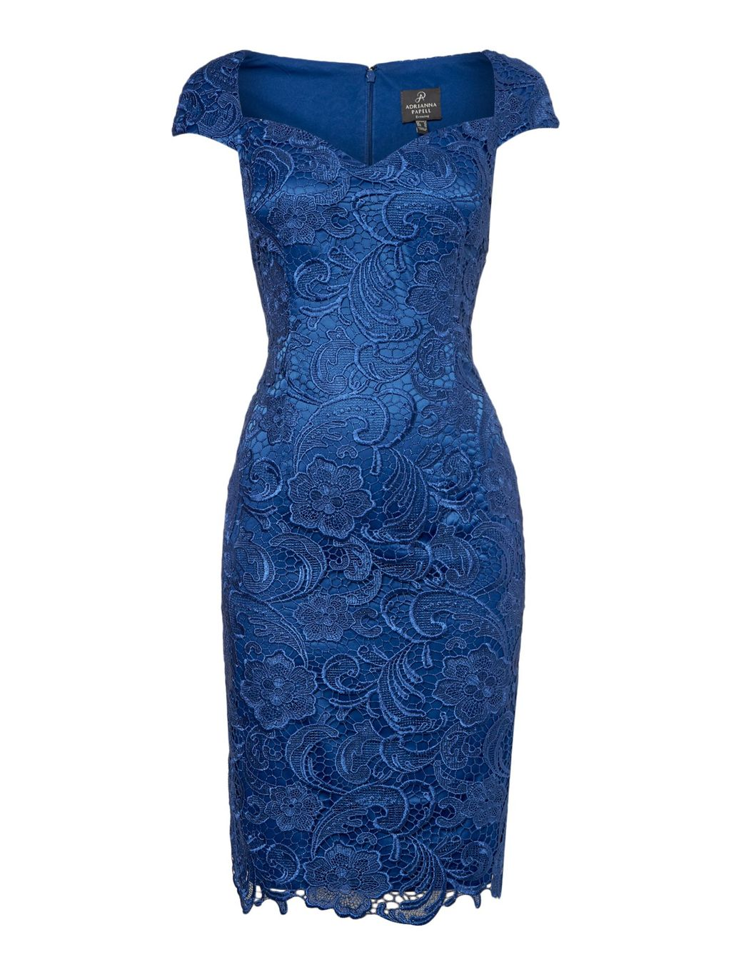 All Over Lace Shift Dress With Sweetheart Neck, Blue - style: shift; sleeve style: capped; fit: tailored/fitted; pattern: plain; neckline: sweetheart; predominant colour: royal blue; occasions: evening, occasion; length: just above the knee; fibres: polyester/polyamide - 100%; sleeve length: short sleeve; texture group: lace; pattern type: fabric; pattern size: standard; embellishment: lace; season: s/s 2016; wardrobe: event