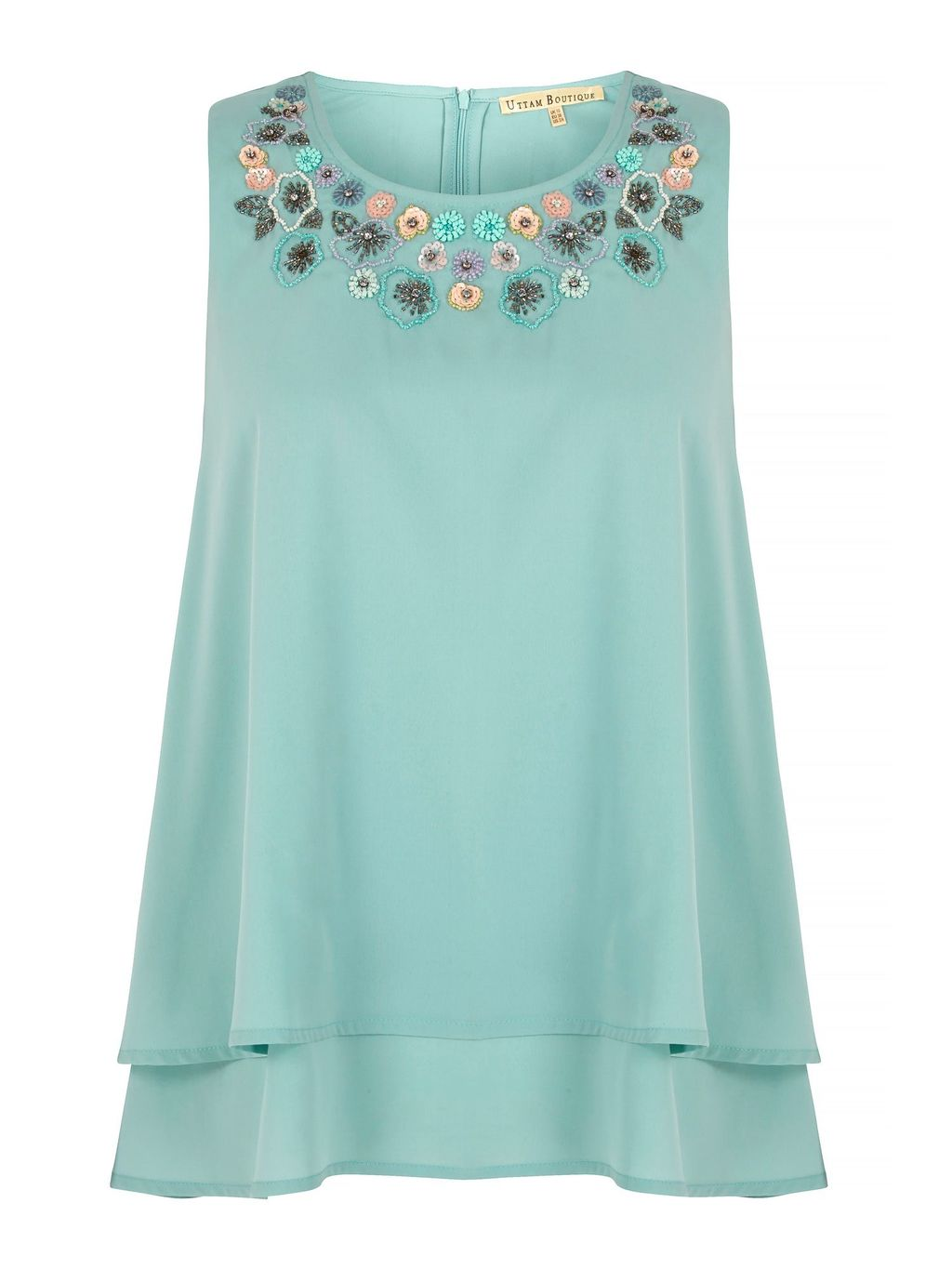 Embellished Swing Top, Blue - neckline: round neck; pattern: plain; sleeve style: sleeveless; predominant colour: pale blue; secondary colour: dark green; occasions: evening; length: standard; style: top; fibres: polyester/polyamide - 100%; fit: loose; sleeve length: sleeveless; texture group: crepes; pattern type: fabric; embellishment: applique; season: s/s 2016; wardrobe: event; embellishment location: neck