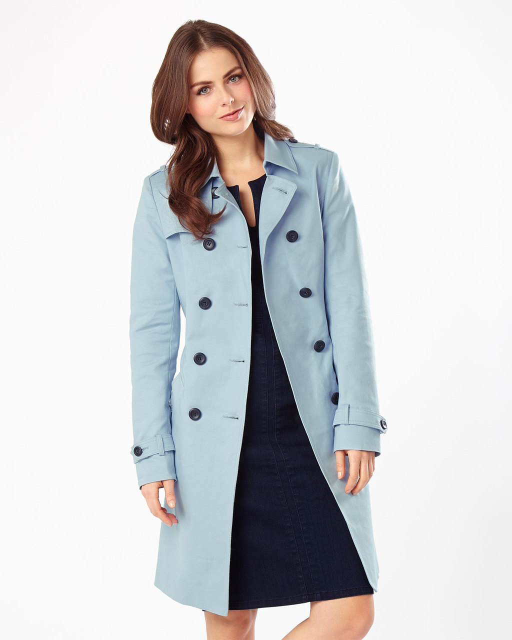 Tabatha Trench Coat - pattern: plain; style: trench coat; length: on the knee; collar: standard lapel/rever collar; predominant colour: pale blue; occasions: casual, creative work; fit: tailored/fitted; fibres: cotton - stretch; sleeve length: long sleeve; sleeve style: standard; collar break: medium; pattern type: fabric; texture group: woven light midweight; season: s/s 2016; wardrobe: highlight