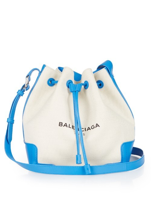 Ligne Canvas And Leather Bucket Bag - secondary colour: white; predominant colour: turquoise; occasions: casual, creative work; type of pattern: light; style: onion bag; length: shoulder (tucks under arm); size: standard; material: fabric; embellishment: tassels; finish: plain; pattern: colourblock; season: s/s 2016